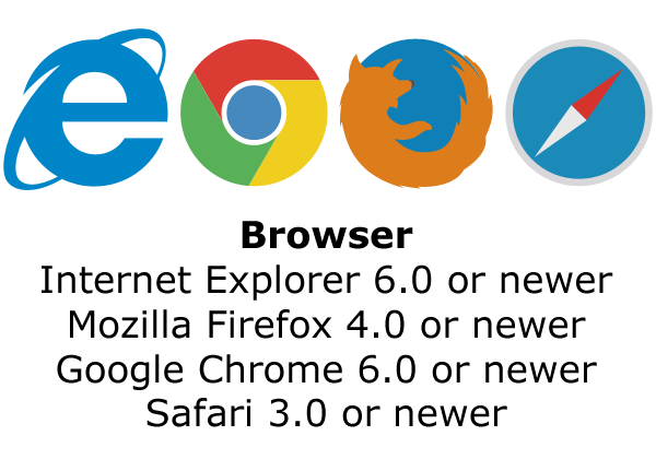 Browser: Internet Explorer 6.0 or newer, Mozilla Firefox 4.0 or newer, Google Chrome 6.0 or newer, Safari 3.0 or newer