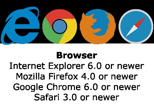 Browser: Internet Explorer 6.0 or newer, Mozilla Firefox 4.0 or newer, Google Chrome 6.0 or newer, Safari 3.0 or newer